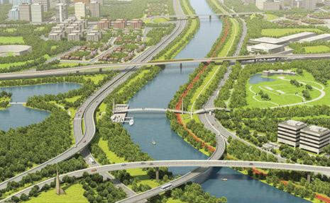 Ilustração de projeto ecológico na marginal do rio Tietê, em São Paulo
