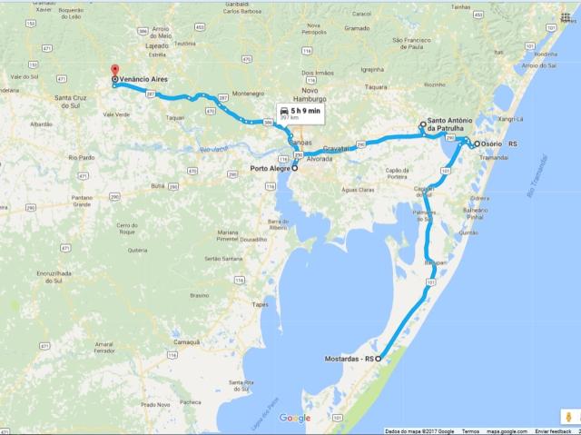 Mapa do roteiro da volta